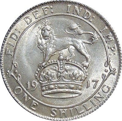 1917 shilling reverse showing ill-defined lion due to die wear. Pay close attention to the mouth and mane Photo JNCoins.
